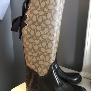 Coach Signature Brown Rain boots. size 8